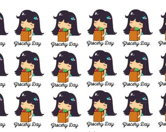 Lady D Grocery Shopping Planner Sticker Sheet