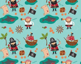 QUILTING COTTON FABRIC Riley Blake Blackbeard Blue Fabric. Sold by the 1/2 yard