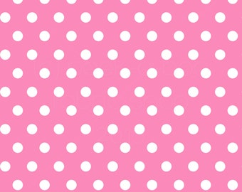 SWIM Fabric: Pink/White Polka Dots UV 50+ Swim Fabric. Sold by the 1/2 yard