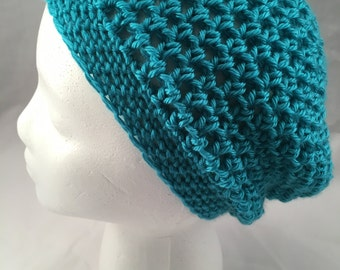 READY TO SHIP! Adult Slouchy Beanie, hand crocheted, crochet, beanie, hat, blue, soft, made with love, sweet amber crochet
