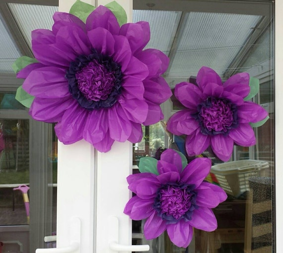 Set of cm purple tissue paper flowers by