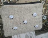 ON SALE - Harris Tweed hand-embroidered purse (sheep)