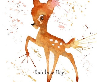 BAMBI - Watercolour - work dated and signed - delivery available in France!