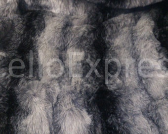 Black Striped Faux Fake Wolf Fur - Various Lengths
