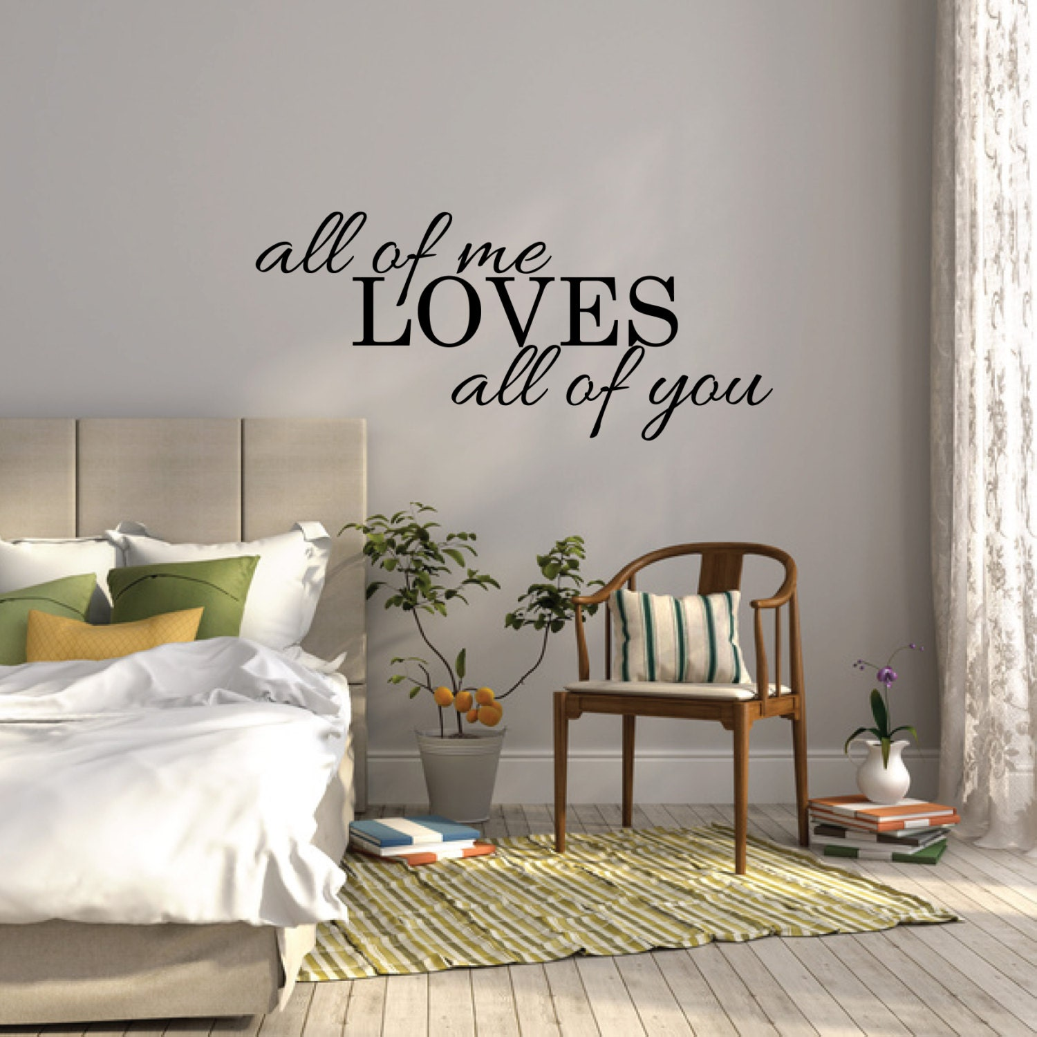 All of me loves all of you wall sticker bedroom wall decal for Mural art designs for bedroom