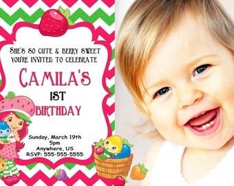 Strawberry Shortcake Birthday Invitations, Chevron Strawberry Shortcake Digital Invitations, Strawberry Shortcake Party, Printables