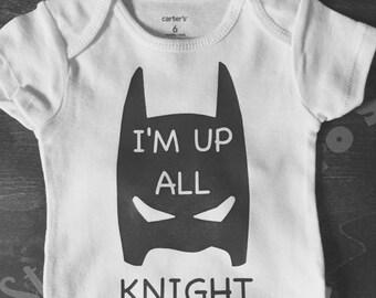 I'm Up All Knight Batman Newborn Shower bodysuit Baby Gift