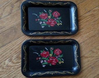 Miniature Stenciled Toleware Style Trays