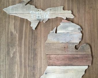Handmade Reclaimed Wood Wedding Michigan Cutout