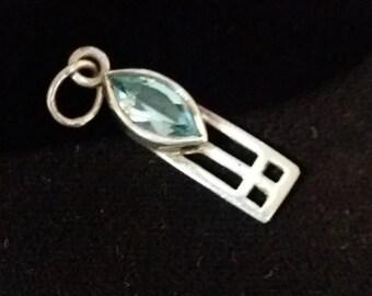 Vintage Silver & Sky Blue Topaz Dainty Pendant