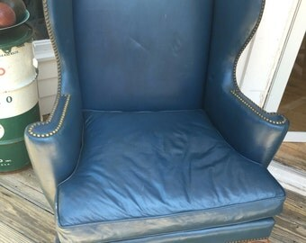 Kittinger Colonial Williamsburg Mahogany Wing Back Leather Chair