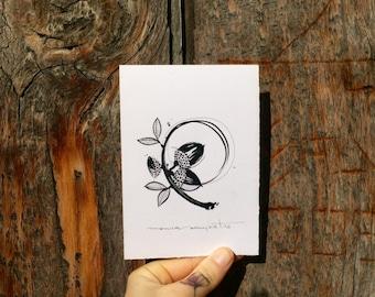 "Art Tattoo Original Sheet in ink ""Glans"" (Acorns)"