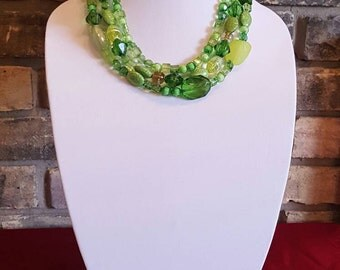 Green Layered Fashion Necklace