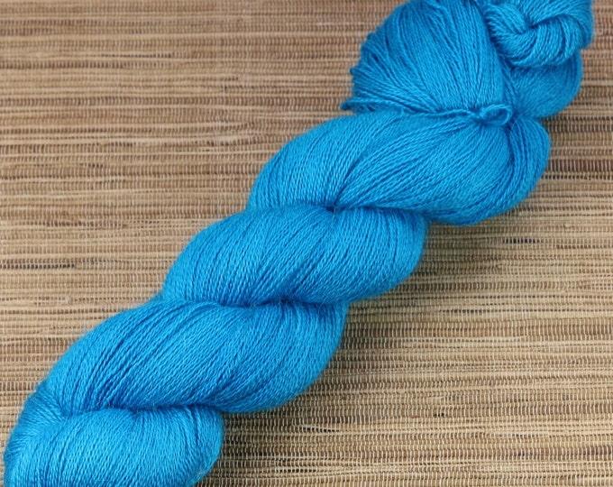 Hand dyed yarn - 100g Alpaca/Silk Lace weight in 'Deep Teal'