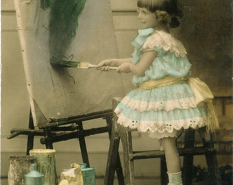 Vintage photo girl painting child artist colorized antique photograph artist gift for art teacher girls room decor 1900s photography PRINT