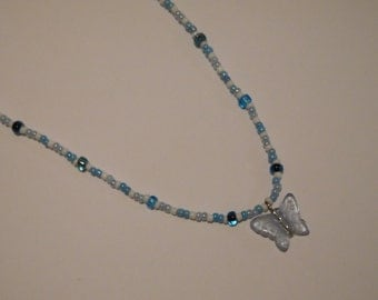 Blue butterfly beaded necklace