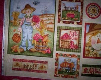 "Sale !! Happy Harvest Kelly Mueller Red Rooster Fabrics 1 panel 23"" x 44"" Scarecrow Snack bag Pillow top"