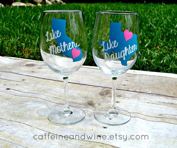 THE TODAY SHOW mother's day gift like mother like daughter mommy and me mothers day from daughter long distance mom personalized wine glass