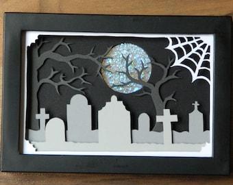 3 Dimensional Paper Sculpture Halloween Graveyard