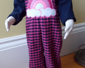Size 1 to 3 Bibbed Trousers! Handmade, one of a kind, soft flannel overalls that grow with your child.