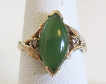 Vintage Marquise Jade Diamond Accent Ring 10k Yellow Gold