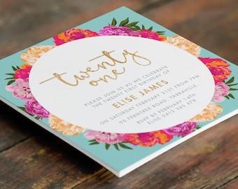 Floral 21st Birthday Customised Invitation (Digital File - Printable PDF)