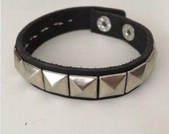 Studded Black Leather Wrist Band