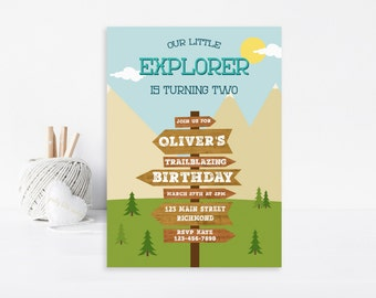 Adventure Invitation, Birthday Invitation, Printable Invitation, Adventure Party, Camping Invitation, Outdoors Invitation, Explorer Invite