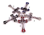 Enamel Rosary Crucifix Choice of Red, Black, Blue, Glow In The Dark or Plain   Italian Rosary Parts