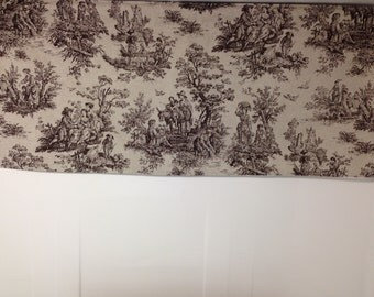 Colonial toile, brown and beige valance, lined valance, 42 x 16