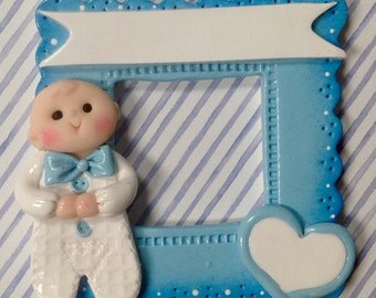POlymer Clay Baby boy Frame Ornament Personalized