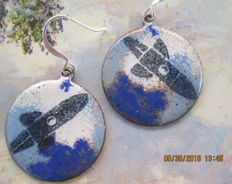 rocket copper enameling earrings