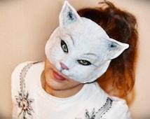 Paper mask cat Animal Mask Paper Mache Cat mask Papier Mache mask  Cat masquerade