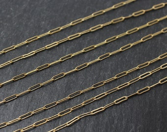N0011/Anti-Tarnished Gold Plating Over Brass/Oval Drawn Flat Cable Chain /1.2x4.2mm/1yard