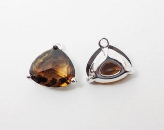 G002008/Smokey Quartz/Rhodium plated over brass/Triangle bezel glass Pendant/13x13mm/2pcs