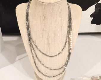 Long Wrap Necklace | Pyrite and Pearls
