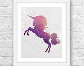 Unicorn Watercolor Art, Watercolor Art, Unicorn Watercolor, Kids Room Art, Nursery art, Printable art, Unicorn Wall Decor, Unicorn Baby Room
