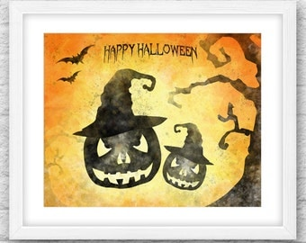 Halloween Printable Art, Halloween Decor, Halloween watercolor, Halloween Decoration, Halloween Download, Halloween card, Instant Download