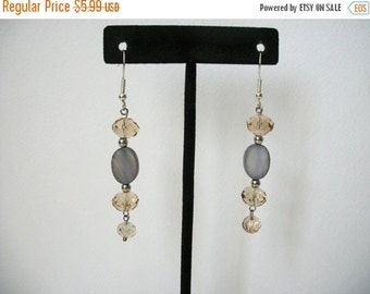 ON SALE Vintage Sparkling Glass Faceted Beads Grey Shell Earrings 1176