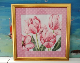 Pink tulips. Embroidery
