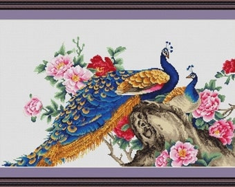Cross Stitch Kit By Luca-S - Two Peacocks; Peacock Cross Stitch Kit Counted Cross Stitch Modern Bird Cross Stitch Disney Cross Stitch Gift