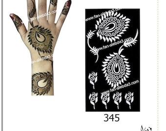 Arabic Henna Stencil Sticker Design Code no. 345