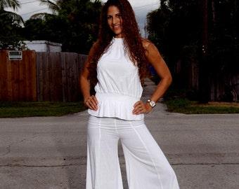 ELLA Organic Gauze Cotton Super Flare  Wide Legs  Wrap Waistband Gypsy Pant