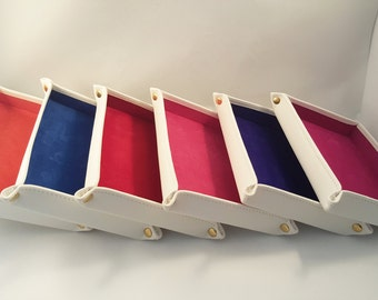 DORNEY Cream Leather with Various Colours of Suede Lining Jewellery or Coin Tray for Travelling or Home.