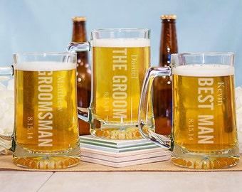 6 Beer Mugs - Wedding Glasses - Drinking Glasses - Wedding Party Personalized Mugs Handle - Groomsman Beer Mugs - Wedding Beer Mug - Custom