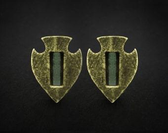 Glowing Roman Arrowhead Stud Earrings, Roman Earrings, Roman Studs, Ancient Jewelry, Tribal Piercing, Roman Jewellery, Stud, Roman Jewelry