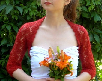 Delicate Red Bridal Bolero Shrug, Wedding Red Bolero,Openwork Bolero Shrug