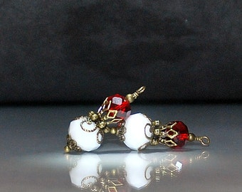 2 Red and White Crystal Vintage Style Bead Dangles or Earrings-Handmade Bead Dangles 10mm Rondelle Glass Beads