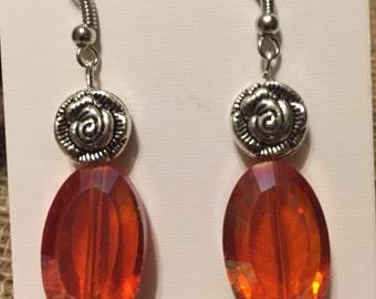Beautiful orange glass and flower earrings