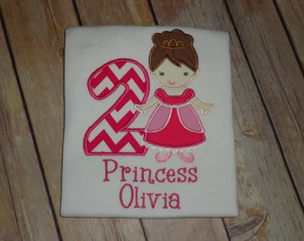 Personalized Princess Birthday Shirt - Custom Made to Order~ 1st through 9th birthday